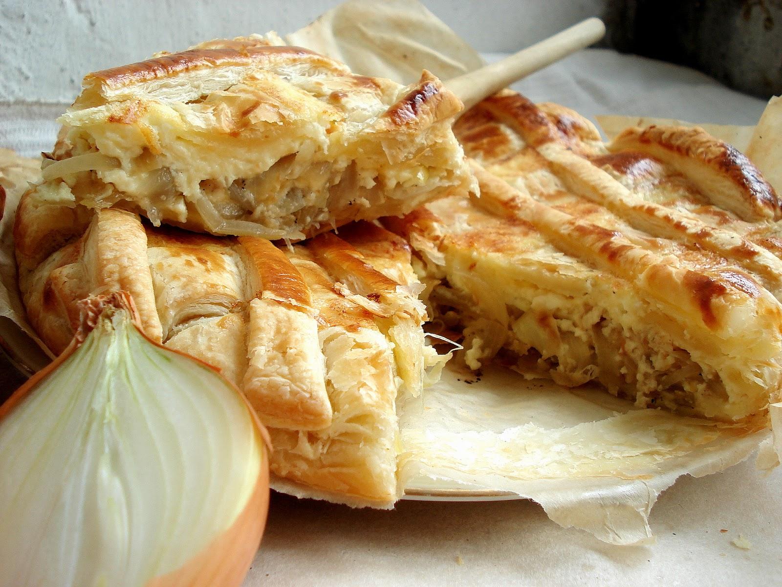 Луковый пирог из дрожжевого теста